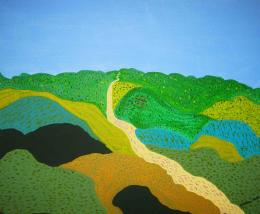 River Flowing Through Green Hills – Acrylic painting 1389