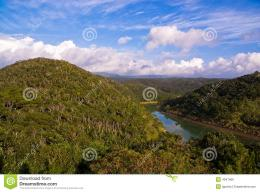 River running through lush hills 1427