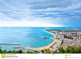 Blanes Beach And Sa Palomera Rock, Spain Royalty Free Stock Image 1689