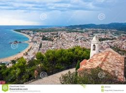Blanes Beach And Sa Palomera Rock, Catalonia, Spain Stock Photo 1312
