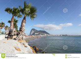 Poniente beach in La Linea, SpainRock of Gibraltar in the background 271