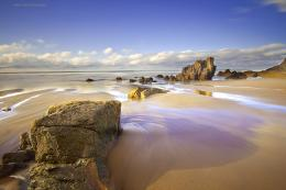 Spain, asturias, beach, sand, sea, rocks, sky, clouds, spring, april 323