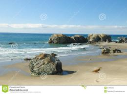 Rock stack and beach scene in pacific coastline, Oregon, USA 1076