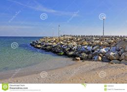Rocky seashore of olimp youth sea resort near constanta in romania 1914