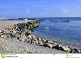 Rocky seashore of olimp youth sea resort near constanta in romania 1821