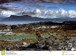 Rocky Seashore Of Scotland In Stormy Weather Stock PhotographyImage 124