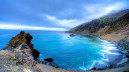Beautiful blue cove hdr beach cliff sea 1920x1080 122
