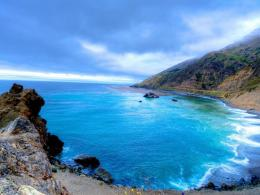 Beautiful blue cove hdr beach cliff sea 1024x768 1694