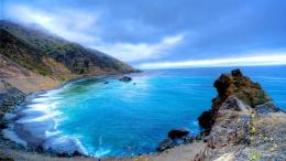 Beautiful blue cove hdr beach cliff sea wallpaper 1274
