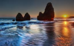 Wallpaper sea, sunset, dawn, HDR, cliff, beach desktop wallpaper 1804