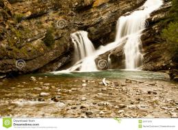 Smooth Waterfall in a rocky canyon 1203