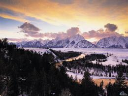snow, winter, river, sunset, mountains, evening, Wyoming, Snake River 1245