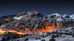 Ice mountains landscapes snow night fire deviantart high definition 1051