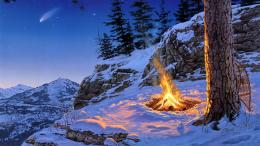 Snow Fire Comet Mountain Tree Nature 1920x1080 mrwallpaper com 1619