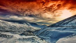 Snow Mountains Under Red Sky 1205