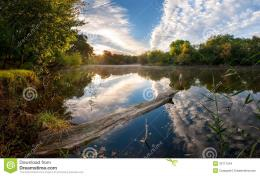 Morning On River With Majestic Clouds Reflection In Water Stock Images 1740