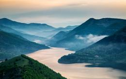 Wallpaper kardjali dam, river, mountains, forest, valley, sunrise 886