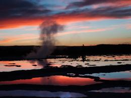 yellowstone national parks great fountain geyser at sunset yellowstone 697