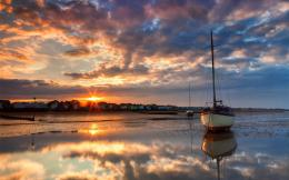 lakes ocean sea bay harbor water reflection sky clouds sunset sunrise 866