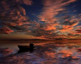 Sunset reflection boat clouds sea nature HD Wallpaper 1084
