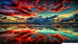 Water Landscapes Nature Sun Red Clouds Reflection Fantasy Art 1200
