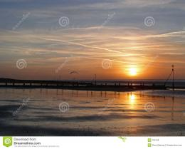 Sunset Over Hunstanton Beach Royalty Free Stock PhotoImage: 705135 1921