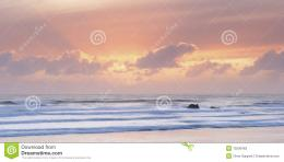 Scenic view of sunset over Widemouth Bay beach, Cornwall, U K 598