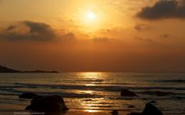 wallpapers over a golden sunset over the sands of Porthmeor beach 822