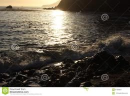 Sunset over the ocean and a rocky beach with kelp in the water 290