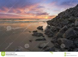 Sunset Over A Rocky Beach Royalty Free Stock PhotosImage: 30088048 625