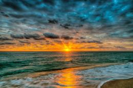 Beach, sunset, sky, clouds, sand, nature, landscape, water, sea, ocean 1953