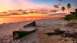 sea wallpaper ocean beach sand boat canoe sunset nature landscape 401