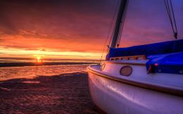 nature landscape sky clouds sunset beach sun sea boats waves wallpaper 660