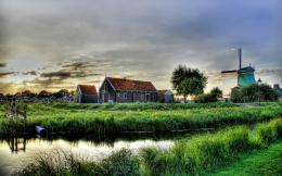 village, mill, house, grass, lake, hdr 1680x1050 HD Background 1378