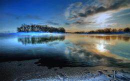 nature landscapes lakes hdr water islands reflection sky clouds sunset 513