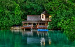 nature lakes water buildings houses boat trees forest wallpaper 1133