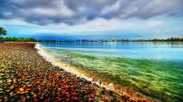 hdr lakes water shoreline coastline pebbles rocks clouds skies waves 210