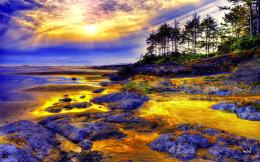 Coastal Sunset Tide Beach Landscape Hdr hd wallpaper #1422921 443
