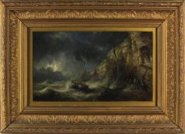 Oil on board A fishing boat coming ashore in a gale under stormy skies 1897