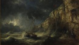 Oil on board A fishing boat coming ashore in a gale under stormy skies 502
