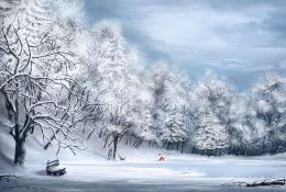 Winter Picture2d, landscape, snow, winter, tree, ice, lake, children 377