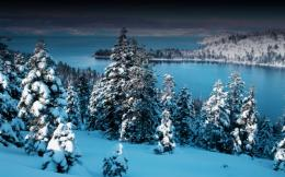 Snowy fir trees by the lake wallpaper655267 1549