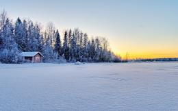 Winter, snow, house, forest, lake, tree, nature wallpapers 1307