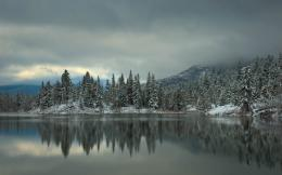 Wallpaper winter, snow, lake, forest, trees, spruce, trees, mountains 1769