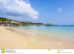 Beautiful Tropical Beach With Wooden Pier Stock PhotoImage 358