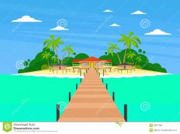 Tropical Island Long Pier Summer Vacation Paradise Ocean Flat Vector 1915