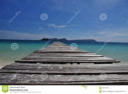 Tropical Beach And Wooden Pier, Koh Rong Island, Cambodia Stock Photo 749