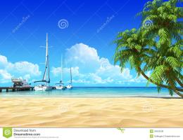Marina Pier And Palms On Idyllic Tropical Beach Royalty Free Stock 634