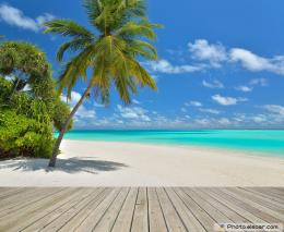 Tropical paradise beach with empty wooden pier 895