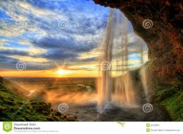 Seljalandfoss Waterfall At Sunset In HDR, Iceland Stock ImageImage 1042